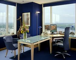 Awesome Blue White Glass Wood Unique Design Cool Office Work Space ...