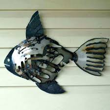 metal fish wall decor decorative art recycled mosaic rustic s mounted red deco metal fish wall decor