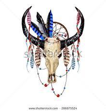 Dream Catcher Satanic Watercolor Buffalo Skull Feathers Dream Catcher Stock Vector 54