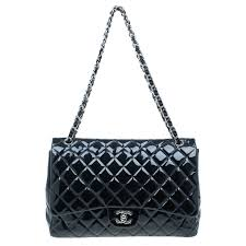 chanel black quilted patent leather maxi classic single flap bag nextprev prevnext
