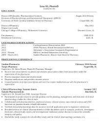 Pharmacy Student Resume Objective Retail Pharmacist For Internship