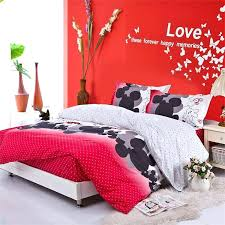 mickey and minnie mouse king size duvet cover bedding set for l