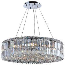 cascade 12 light round crystal chandelier chrome transitional