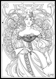 346 best coloring book images on alphonse mucha coloring pages