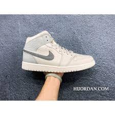 C11039 Nike Air Jordan 1 Mid 852542 003 Marble Grey Silver Mid Top Aj1 Air Jordan 1 Litchi Grain Leather Full Grain Leather Hk Free Shipping