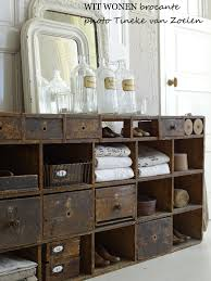 Farmhouse country rustic and shabby chic style for a bathroom vanity or a  guest bedroom dresser drawer idea