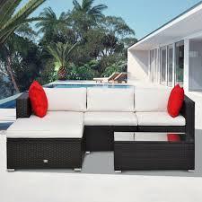 outsunny patio furniture set 5pc rattan