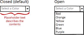 Dropdown Menu Combo Box Ui Controls Dictionary Balsamiq