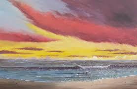 sunset ocean beach painting in acrylic