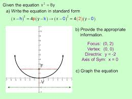 given the equation a write the equation in standard form v f b provide the