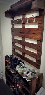 Hallway Furniture Coat Rack Hallway Pallet Coat Rack And Shoe Rack 100 Pallets 63