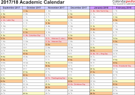 Academic Calendars 2017 2018 Free Printable Word Templates