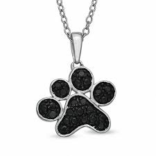 t w enhanced black diamond large paw pendant in sterling silver