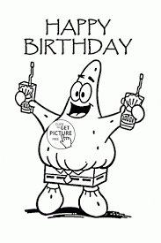 Happy Birthday Cartoon Coloring Page For