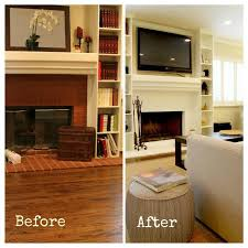 white painted fireplace before and after transitional for inspiring painted brick fireplace before and after