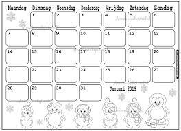 Januari 2019 Kalender Thema Kleurplaat Printen July Calendar