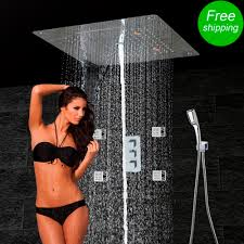 golden bathroom shower column faucet wall: bathroom shower set accessories faucet panel tap thermostatic mixer led ceiling shower head rainl waterfall massage jet kf