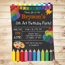 Print Out Birthday Invitations Fascinating Art Party Invitations Printables Birthday Party Invitations Art