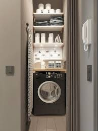 tiny laundry room with shelves
