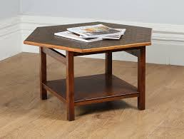 hexagonal oak copper penny coffee table c