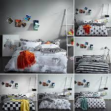 details about 100 cotton black white bedding set duvet cover flat sheet twin queen king size