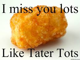 I miss you lots Like Tater Tots - tater tots - quickmeme via Relatably.com