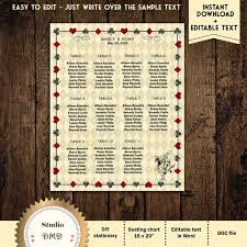 Printable Alice In Wonderland Wedding Guest Seating Chart Seating List Download Instantly Editable Text Microsoft Word Format