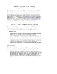 Essay About Critical Thinking Anchor Essays For Critical Thinking