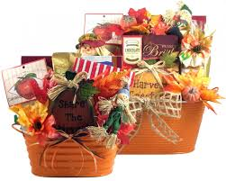 fall gift baskets in brightly colored tin