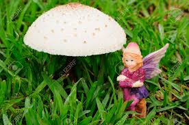 a fairy figurine sitting next to a mushroom in the garden stock photo 91986657