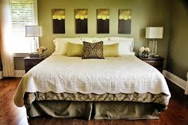 Bedroom, Staggering Soft Green Wall Painting With Green Pillows And Wooden  Floor No Headboard ~
