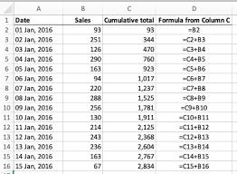 calculate a running total of a column