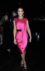 kate beckin wear hot pink dress at vf chrysler celebration of the eva longoria foundation