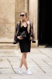 escada basketweave leather jacket milan fashion week street style leather jacket with chanel bag and adidas sneakers