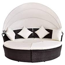 Amazon.com: Outdoor Daybed Round Patio Canopy Cushioned Retractable ...