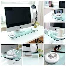 tempered glass office desk. Tempered Glass Office Desk Home Organizer I Bridge Multi Function Monitor Stand Table