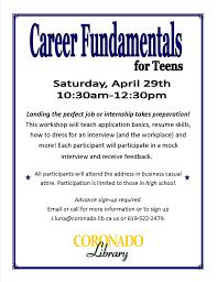 Career Fundamentals Workshop Flier Coronado Times