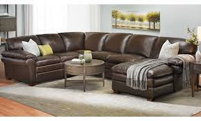 top grain brown leather chaise sectional sofa in family room