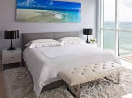 contemporary bedroom with vast ocean views