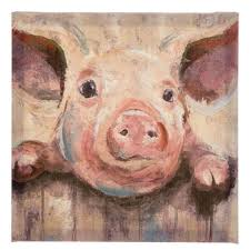pig at fence painted canvas wall decor on pig canvas wall art with pig at fence painted canvas wall decor hobby lobby 1658798
