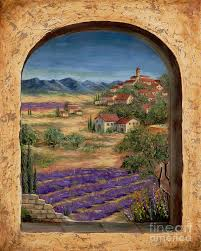 europe painting lavender fields and village of provence by marilyn dunlap on lavender fields wall art with lavender fields and village of provence painting by marilyn dunlap