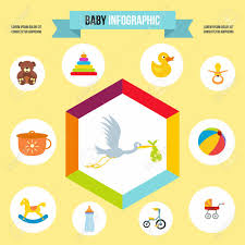 Baby Infographic Template In Flat Style For Any Design Royalty Free