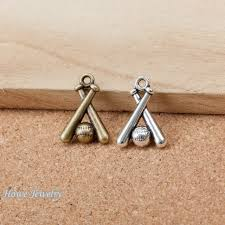 42pcs vintage charms baseball sports pendant fit bracelets necklace diy metal jewelry makingd014