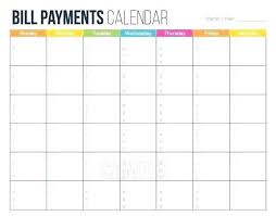Payment Tracker Template Free Bills Calendar Monthly Bill Printable