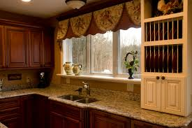 nice looking brown fabric homemade over valances kitchen window ideas feat marble countertop also double undermount sink as decorate traditional kitchen