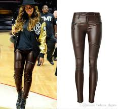 las high waist stretch pant skinny brown pu leather trousers zipper women s pleated patchwork pencil pants locomotive trousers