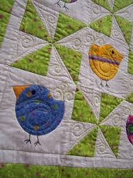 Chubby Chicks Baby quilt. Love the quilting, especially the swirls ... & Chubby Chicks Baby quilt. Love the quilting, especially the swirls above  the birds tails. | baby quilts | Pinterest | Babies, Bird and Bird quilt Adamdwight.com