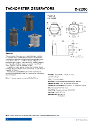 tachometer generators globe motors pdf catalogue technical tachometer generators 1 2 pages