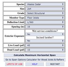 Load Bearing Chart For Lumber Calculator For Deck Joist Options Fine Homebuilding