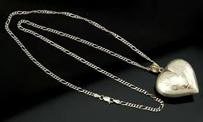 details about vtg sterling silver large ornate carved puffy heart pendant necklace